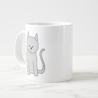 Gray Cat Cartoon. Giant Coffee Mug