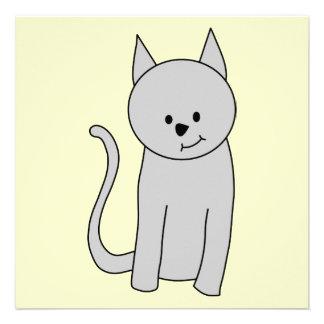 Gray Cat Cartoon Custom Invitations