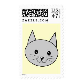 Gray Cat Cartoon. Postage