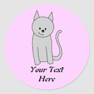 Gray Cat Cartoon. Round Stickers