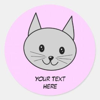 Gray Cat Cartoon. Round Sticker