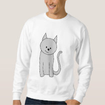 Gray Cat Cartoon. Sweatshirt
