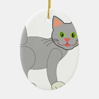 Gray Cat Ceramic Ornament