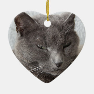 Gray cat ceramic ornament