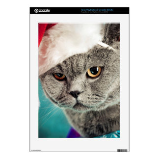 Gray cat christmas - Christmas cat -kitten cat Decals For PS3