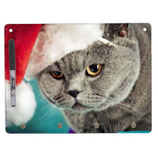 Gray cat christmas - Christmas cat -kitten cat Dry Erase Board With Keychain Holder