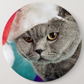 Gray cat christmas - Christmas cat -kitten cat Pinback Button