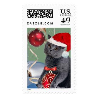 Gray Cat Christmas Postage