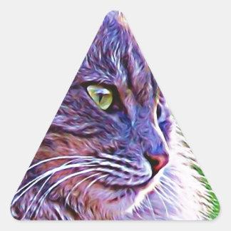 Gray Cat Graphic Triangle Sticker