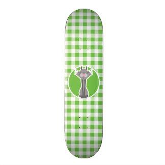 Gray Cat Green Gingham Skateboards
