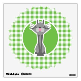 Gray Cat; Green Gingham Wall Sticker