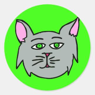 Gray Cat  - I Love Cats! Classic Round Sticker