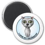 Gray Cat - I Love My Grandcat 2 Inch Round Magnet