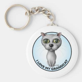 Gray Cat - I Love My Grandcat Keychain
