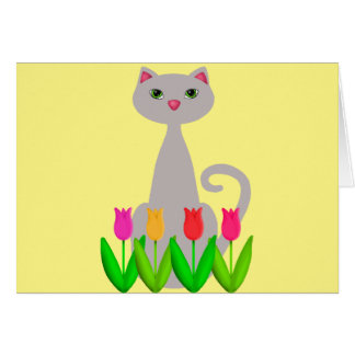 Gray Cat in Spring Flowers Card