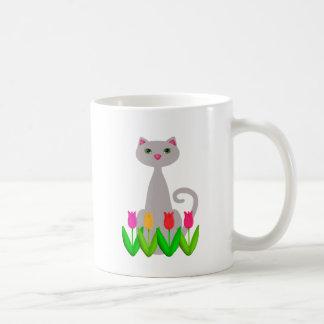 Gray Cat in Spring Flowers Coffee Mug