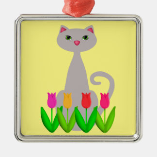 Gray Cat in Spring Flowers Metal Ornament