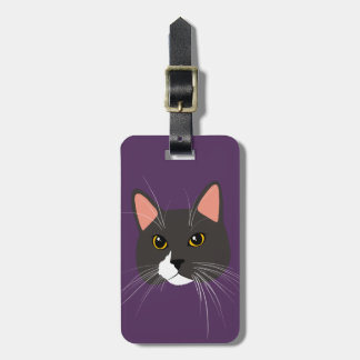 Gray Cat Lady Funny Meow Luggage Tag