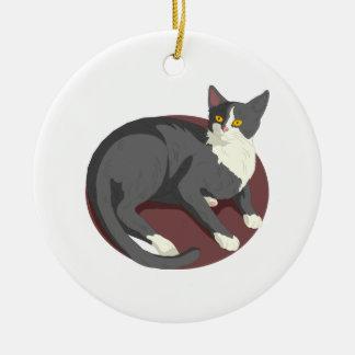 Gray Cat Lying Down Ceramic Ornament