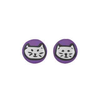 Gray Cat On Dark Purple Background Earrings