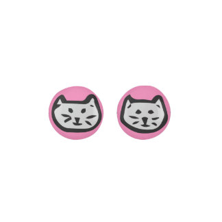 Gray Cat On Girly Pink Background Earrings
