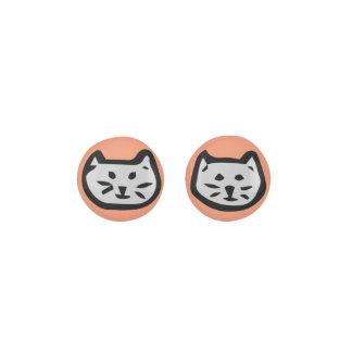 Gray Cat On Pale Orange Background Earrings