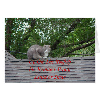 Gray Cat On The Roof, Up On The RooftopNo Reind... Card