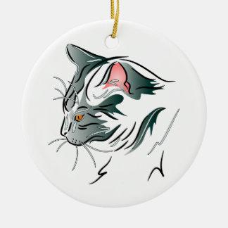 Gray Cat Profile Ceramic Ornament