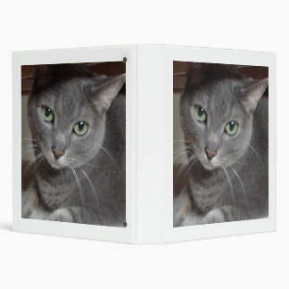 Gray Cat Russian Blue 3 Ring Binder