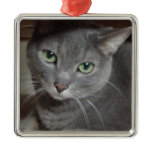 Gray Cat Russian Blue Christmas Ornaments