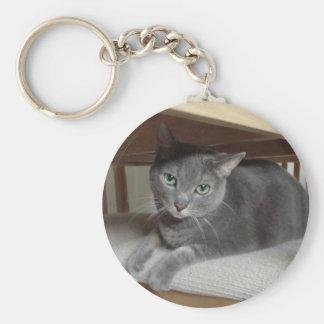 Gray Cat Russian Blue Keychain