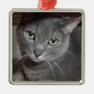 Gray Cat Russian Blue Metal Ornament
