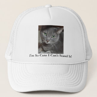 Gray Cat Russian Blue Trucker Hat
