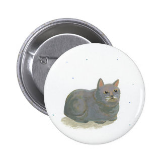 Gray cat sitting like a loaf of bread fun art buttons
