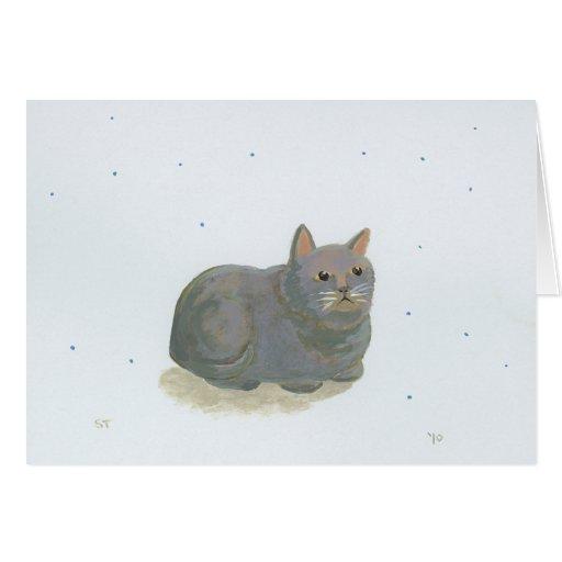 Gray cat sitting like a loaf of bread fun art card