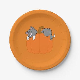 Gray Cat Sleeping on Halloween Pumpkin 7 Inch Paper Plate