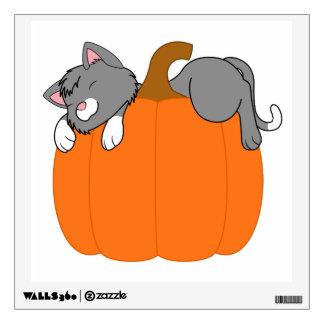 Gray Cat Sleeping on Halloween Pumpkin Wall Graphic