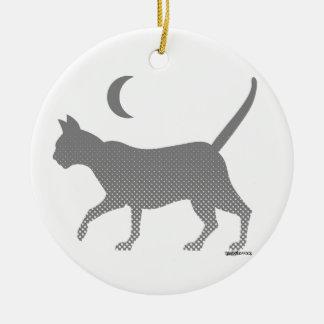 gray cat under the moon ceramic ornament