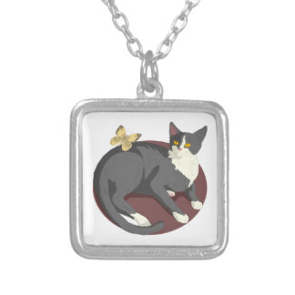 Gray Cat Watching Butterfly Necklace