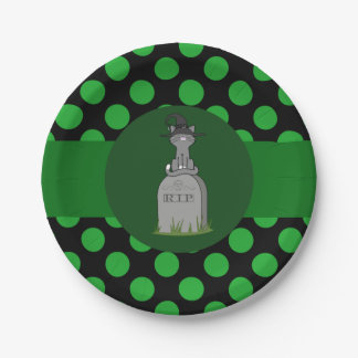 Gray Cat Witch on Grave Stone with Green Dots 7 Inch Paper Plate