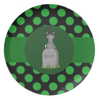Gray Cat Witch on Grave Stone with Green Dots Plate