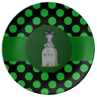 Gray Cat Witch on Grave Stone with Green Dots Porcelain Plate