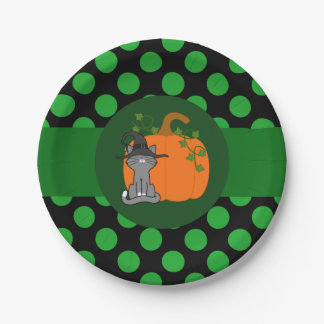 Gray Cat Witch with Pumpkin & Green Dots 7 Inch Paper Plate
