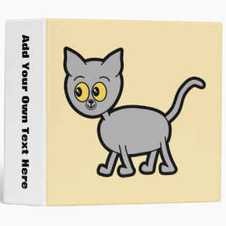 Gray Cat with Amber Color Eyes. 3 Ring Binders