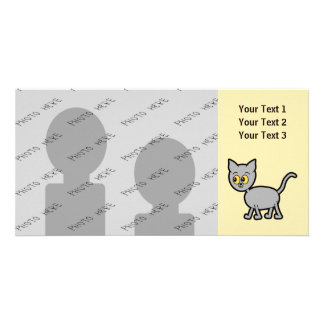 Gray Cat with Amber Color Eyes. Card