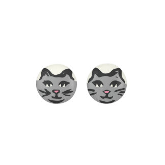 GRAY CAT With Black Whiskers Earrings