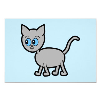 Gray Cat with Blue Eyes. Card
