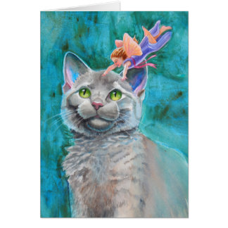 Gray Cat with Fairy Card