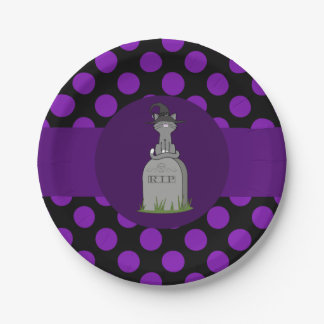 Gray Cat with Grave Stone & Purple Dots 7 Inch Paper Plate