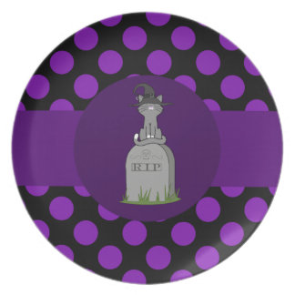 Gray Cat with Grave Stone & Purple Dots Plate
